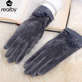 Women's Gloves Winter Fashion Touch-screen Gloves thicken Warm  Gloves High quality Mittens Solid driving lace Mittens 53002