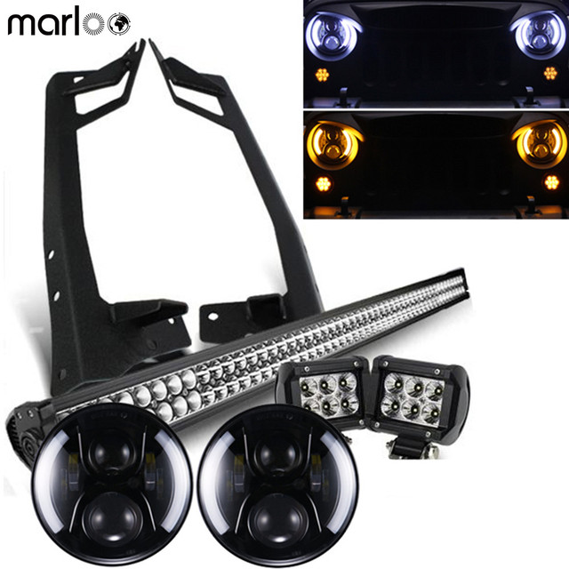 "Marloo For Jeep Wrangler JK 7 Inch LED headlights White Halo With 52"" 300W Led Bar & 18W Pods Work Light & Mounting brackets Set"