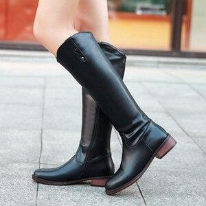 Image 5 - Meotina Botas de invierno de tacón cuadrado para mujer, botines occidentales con cremallera, tacón medio hasta la rodilla, Nuevo rojo de talla grande 34 43