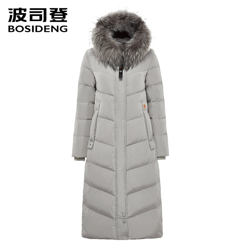 bosideng 2018 new winter thicken   down     coat   for women X-Long   down   outwear over knee Two-way zipper natural fur collar B70141072