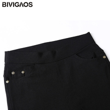 BIVIGAOS Spring Fashion Womens Casual Skinny Leggings Slim High Elastic Pocket Pencil Pants Woven Leggings For Women Jeggings