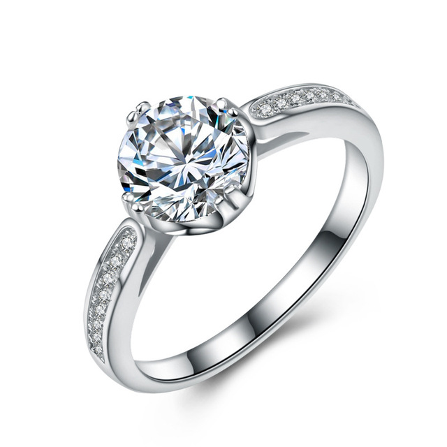 Romantic Wedding Promise Rings S925 Sterling Silver Zircon Crystal Bridal  Ring For Women Valentineu0027s Day Girlfriend