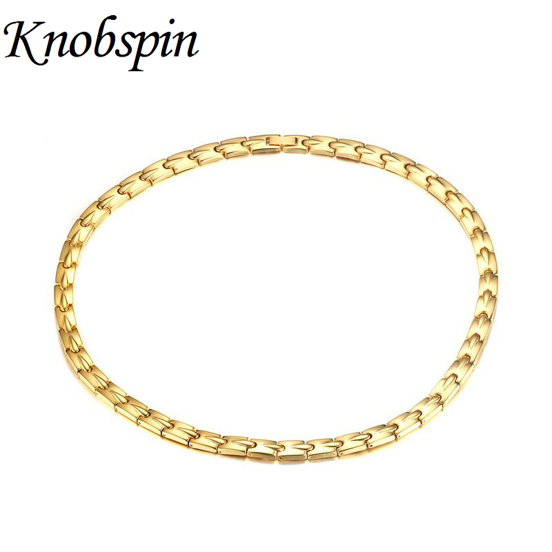 7.5MM Gold Color Health Choker Necklace Men Magnetic Power Stainless Steel Energy Jewelry Magnets Germanium Necklace цена 2017