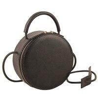 Brand Fashion Genuine Leather Mini Small Women Circle Messenger Shoulder Bag Crossbody Handbag Clutch Purse Black