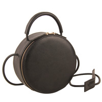 Brand Fashion Genuine Leather Mini Small Women Circle Messenger Shoulder Bag Crossbody Handbag Clutch Purse Black