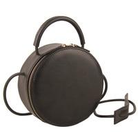 Brand Fashion Genuine Leather Mini Small Women Circle Messenger Shoulder Bag Crossbody Handbag Clutch Purse Black Red White