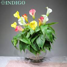 INDIGO- Calla Bouquet (18pcs Leaves+3pcs Flowers +Roots) Anthurium Touch Flower Calla Wedding Floral Table Flower Free Shipping
