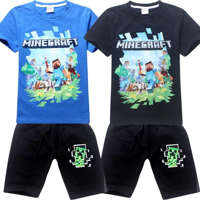 Heißer Verkauf Neue 2018 Cartoon Minecraft T Shirts Meine Welt Beliebte Baumwolle Tees Kurzarm Jungen Mädchen Top Kostüm Kinder Kleidung Mutter & Kinder Oberteile Und T-shirts