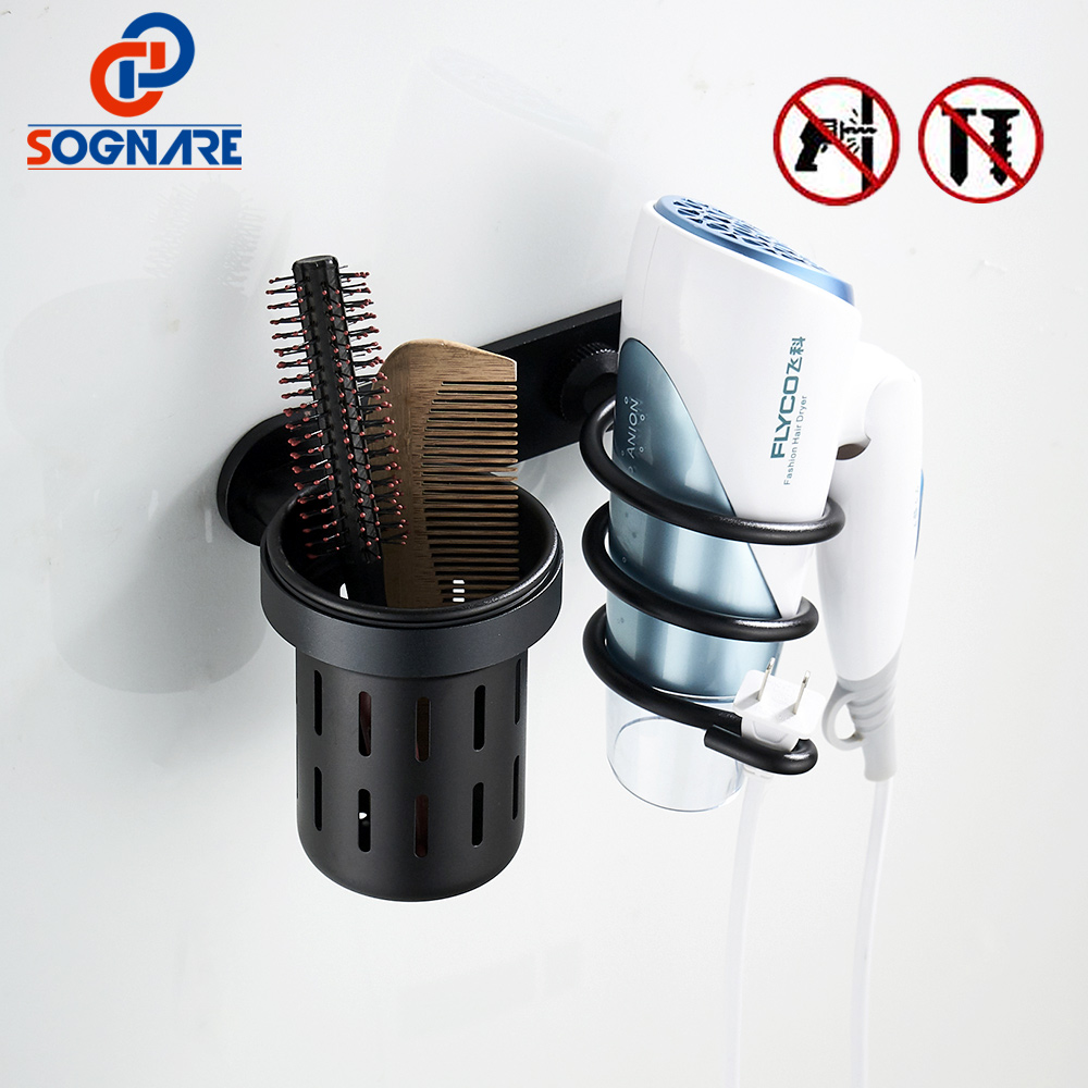 SOGNAR Hair Dryer Holder With Cup Households Rack Hair Blow Dryer Shelf Metal Wall Mounted Bathroom Accessories Hair Dryer Rack hair dryer holder antique brass hair blow dryer holder bathroom shelf rack wall mounted washroom accessories bath stand et 300