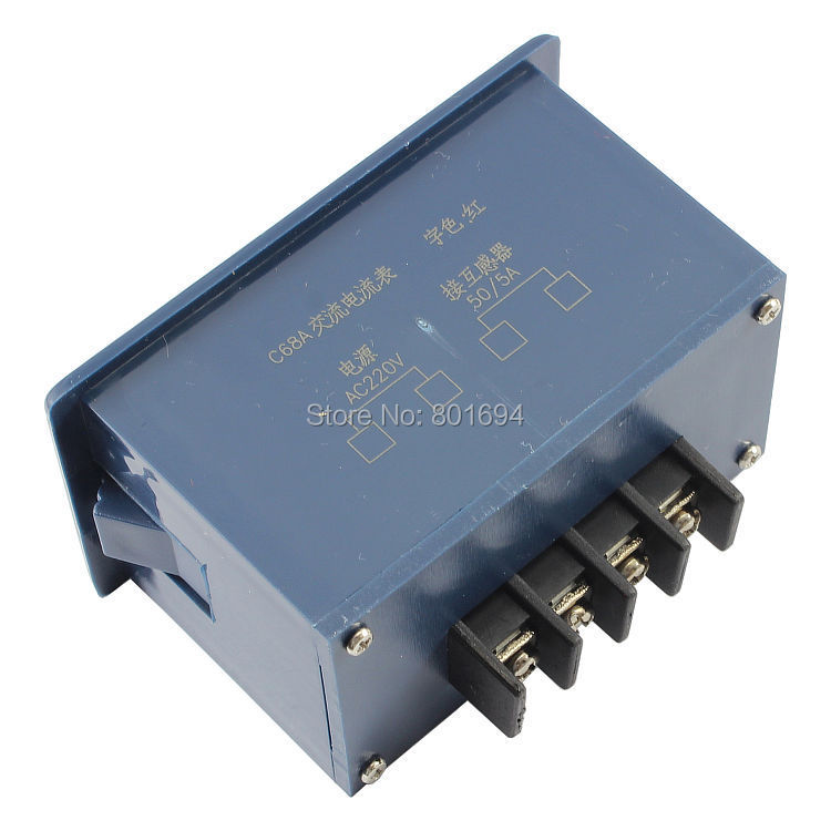 C68A 0.56 3Bit 0-50A AC Digital Ammeter 220V Alternating Current Measurement Meter Compatible 85L17 Pointer Table