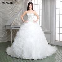 luxury 2018 Wedding Dress Ruffles Ball Gown Sweetheart Beaded Lace Up Back Long Train Bridal Gown Bride Dresses Vestido De Noiva