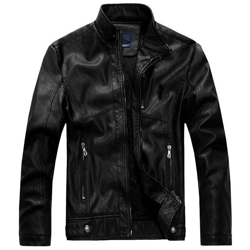 63373c3741986 Кожаная куртка мужская куртка-бомбер Jaqueta De Couro Csaco мужская кожаная  куртка с воротником-