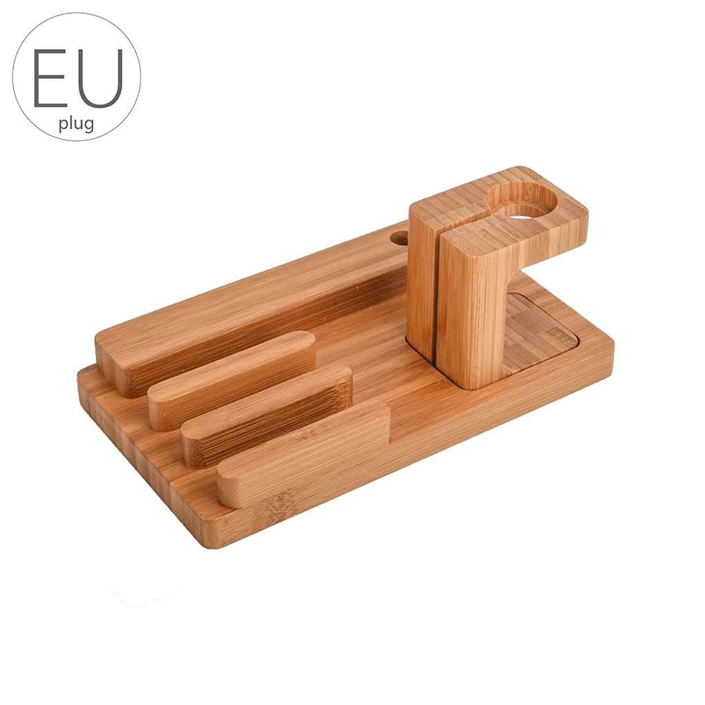 Universal Bamboo Charging Station USB Charger Stand Holder for Apple Watch 38/42mm Pen Phones Organizer Cradle Bracket 4