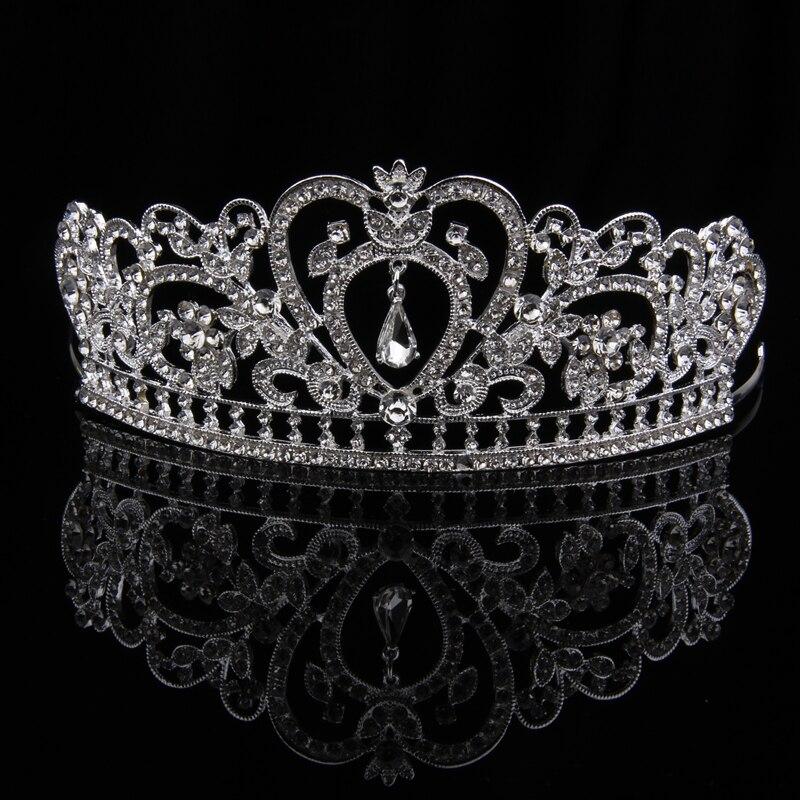 TUANMING Crystal Heart font b Tiara b font Crown Silver Headband Rhinestone Hairband Bride font b