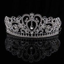 TUANMING Crystal Heart Tiara Crown Silver Headband Rhinestone Hairband Bride Hair Accessories For Women Wedding Hair Jewelry