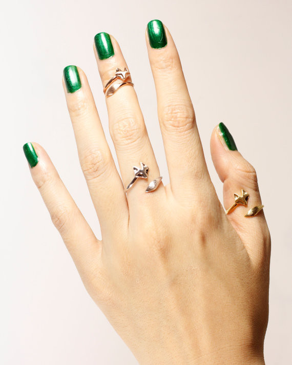 2016 New hot sale antique bronze Gold Silver Plated Adjustable Cute Animal Fox Rings for Women Unique Rings,ring,birthday gift