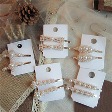 Hot Sale Simple Korean Elegant Metal Hair Pins and Clips Women Girls Imitation Pearl Barrettes Styling Accessories