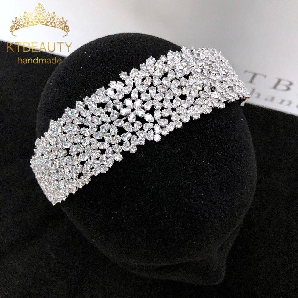 News Rhinestone Zirconia Custom Big Tiara Silver Fashion Headband Royal Bridal Wedding Dressing Crown Accessory Women