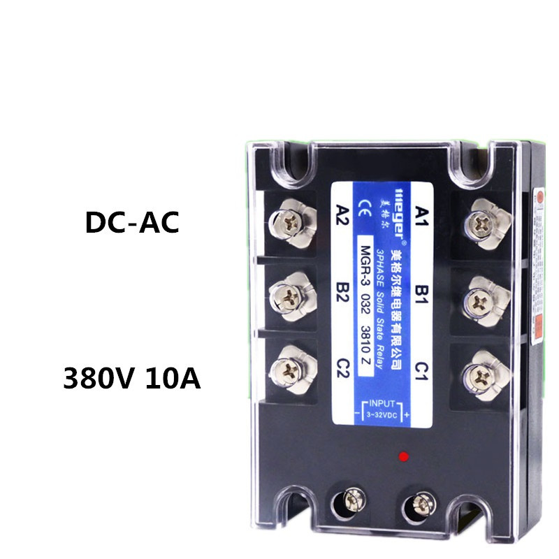 Three-phase solid state relay 380V 10A MGR-3 032 3810Z DC-AC genuine three phase solid state relay mgr 3 032 3880z dc ac dc control ac 80a