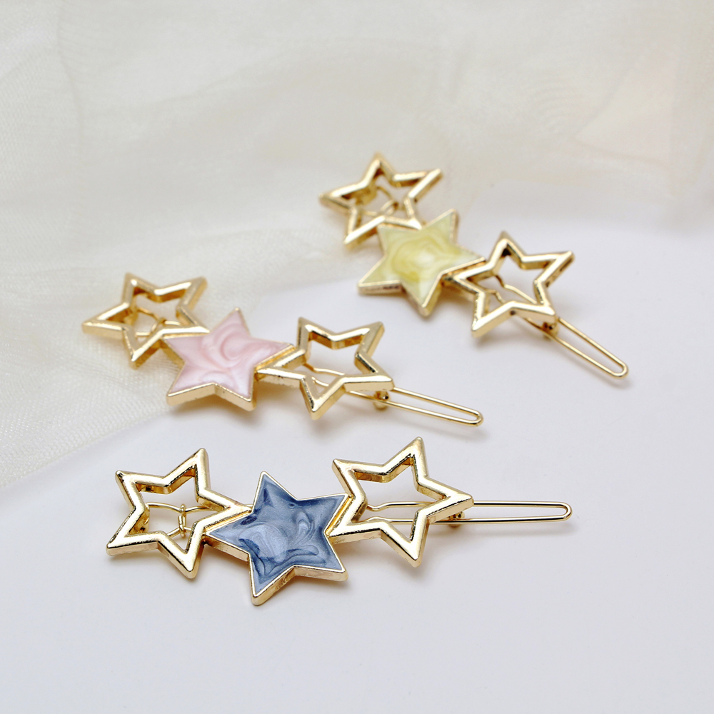1pcs Star Hair Clips Girls Hair Accessories Gold Clips Metal Bobby Pins Novelty Acrylic Hairpin Wedding Hairgrips Headdress 7CM