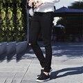 Mcckle nova moda mens designer jeans skinny pretas com buracos no Joelho Calças Skinny Jeans Slim Fit Jeans Angustiados Corredores homens