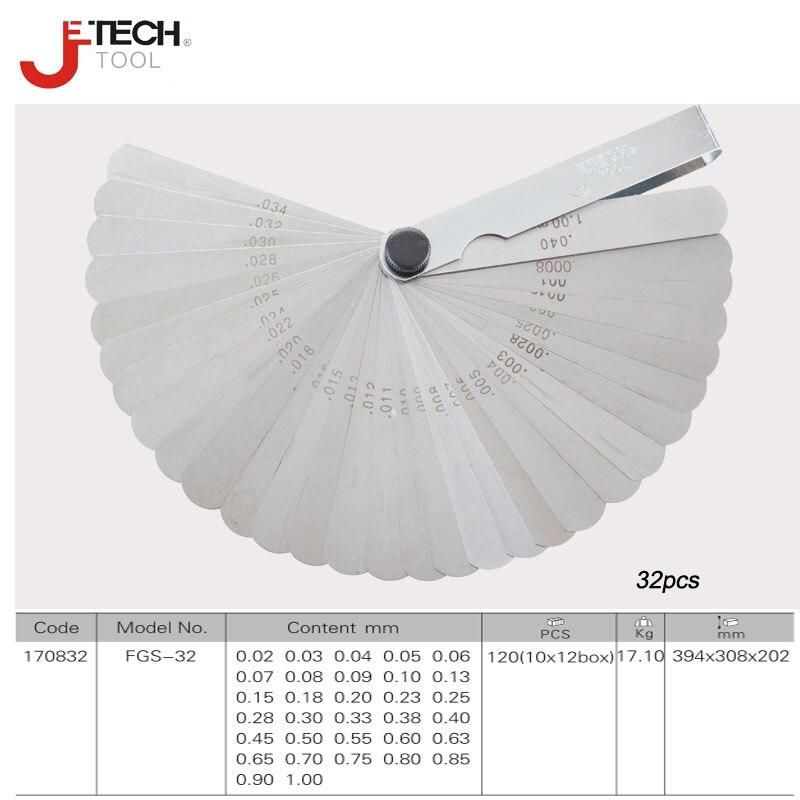 Jetech 32 lames à ressort en acier de précision palpeur jauge 0.05-1mm d'épaisseur de remplissage d'écart métrique profondeur voelermaat outil de mesure