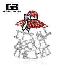 Red Hat Society Jewelry ITS ALL ABOUT THE HAT Rhinestone Brooch Pin  FREE SHIPPING