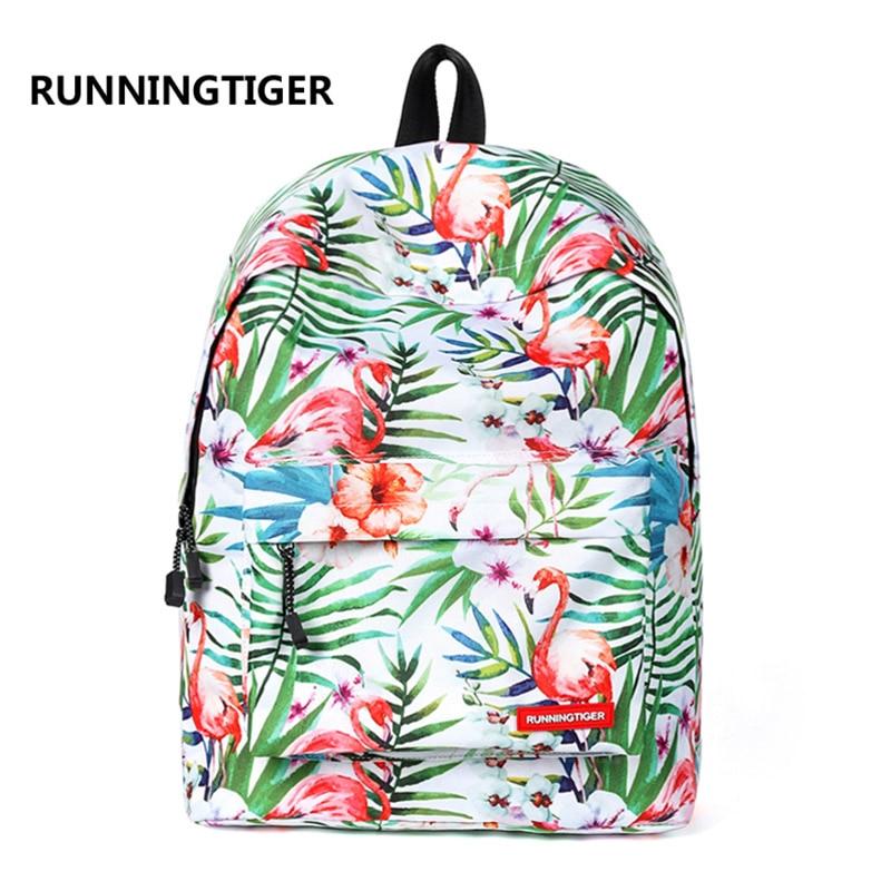 где купить RUNNINGTIGER Tropical Style Backpack Women Fashion Travel Backpack Cute Flamingo Printed Backpack School Bags for Teenagers по лучшей цене