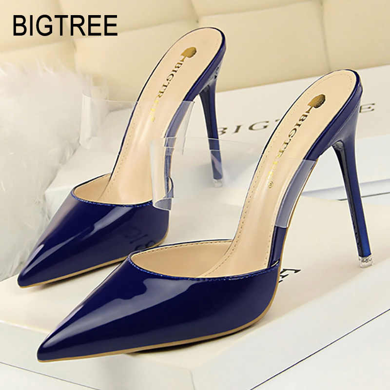 Bigtree Shoes Women Pumps High Heels Women Shoes Pointed Toe Women Sandal Transparent Women Shoes Kitten Heel  Female Stiletto