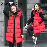 2017 Red High Quality Women Vests Winter Hooded Female Coats Zipper Cotton Long Jackets Slim Fashion Coats Z507 35