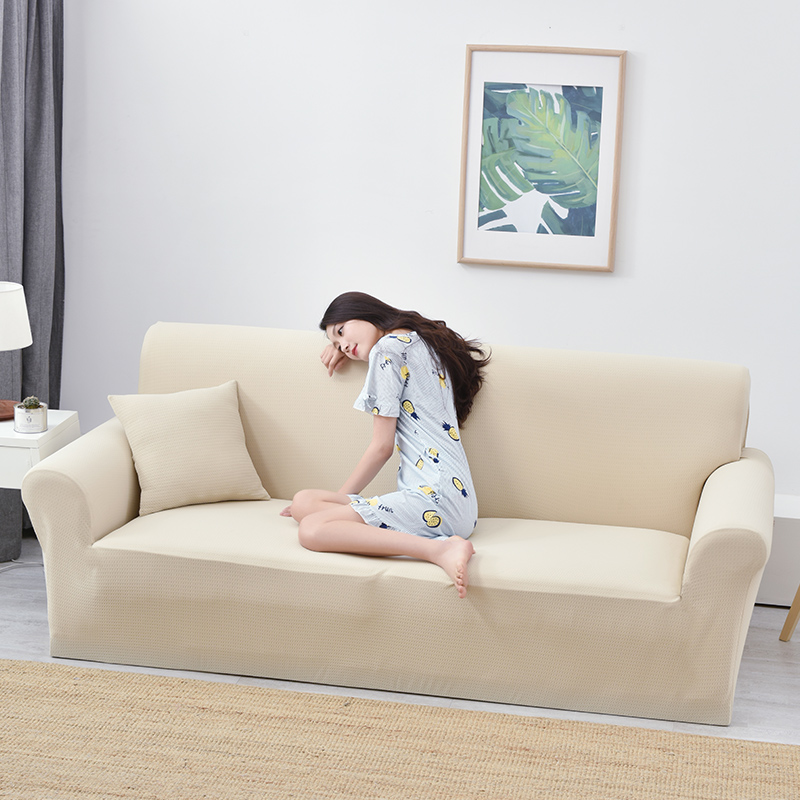 Us 31 98 59 Off Beige Solid Color Elastic Sofa Slipcovers For Living Room Waterproof Universal Couch Corner Covers Furniture Cover In