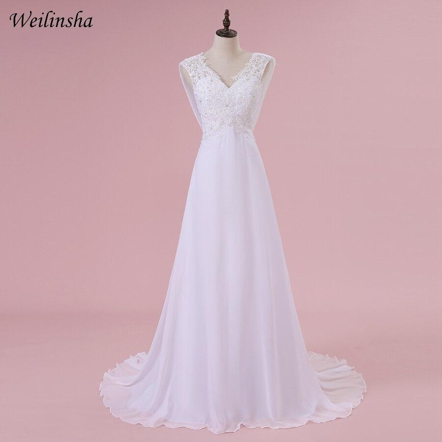 Weilinsha Olcsó Boho Esküvői ruhák V-nyakú ujjatlan gyöngyözés Applied Sifon A-vonalú hosszú esküvői ruha cipzárral