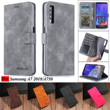 все цены на For Samsung Galaxy A7 2018 Case Leather Vintage Phone Case Funda Samsung A7 2018 Case Flip Magnetic Wallet Case On A7 2018 Cover онлайн