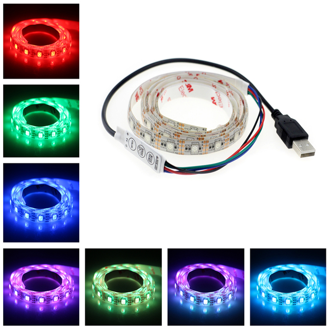 5v usb cable led strip light lamp smd5050 1m 60led christmas flexible led stripe lights tv - Christmas Light Dimmer