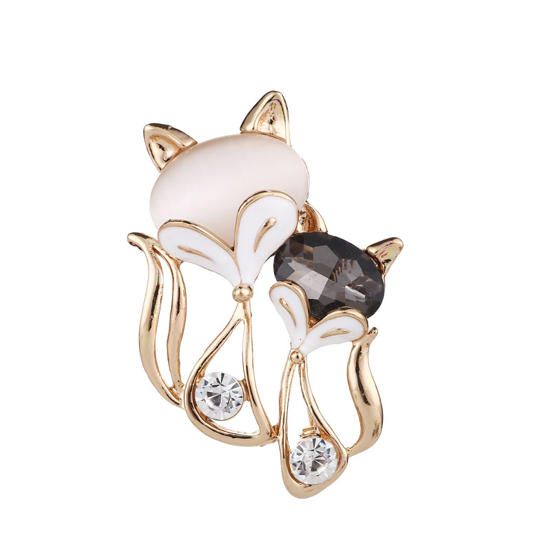 Sexy Fox Rhinestone Pins and Brooches Women Mom Animal Fox Brooch Pins Opal Cat 39 s Eye Brooch Valentine 39 s Day Love Couple Jewelry in Hair Jewelry Brooches amp Body Jewelry from Jewelry amp Accessories