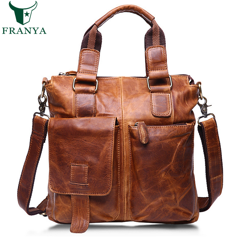 Real Leather Document Briefcase Retro Men Business Bags Mens Handbags Genuine Cow Leather Bag for men