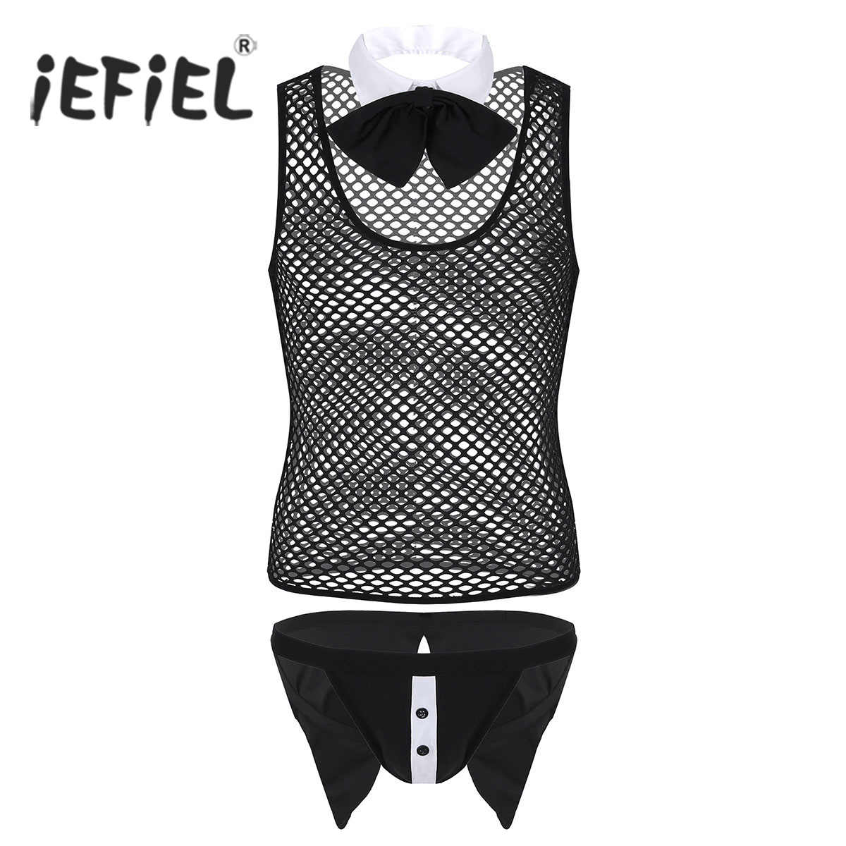 e448f1daf6a iEFiEL Sexy Costumes for Mens Butler Waiter Tuxedo Lingerie Suit Fishnet  See Through Vest Top with
