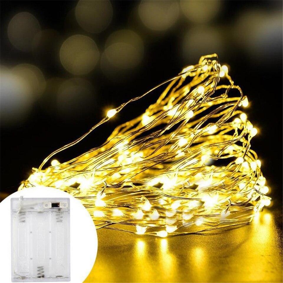 Светодиодный светильник 2 м, 5 м, 10 м, медный провод, светодиодный светильник для шкафа, гирлянда, Свадебный декор, Рождественская гирлянда, ла...