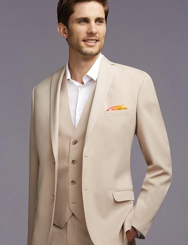 New Arrival Two Button Beige Groom Tuxedos Groomsmen Mens Wedding Suits Prom Dress (Jacket+Pants+Vest+Tie) NO:172