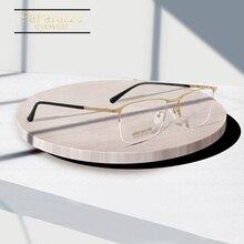 Titanium Grade Eyeglasses Frame For Man Glasses Men Ultralight Square Prescription New Semi Myopia Eyewear