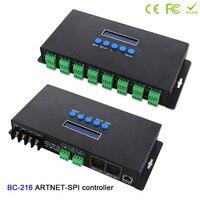BC 216 Led Artnet Controller DC5V 24V 16 channels Artnet to SPI /DMX pixel light LED controller+Two port(2*512 Channels)output