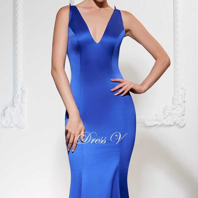 Dressv royal blue long evening dress sexy v leher mermaid sweep train - Gaun acara khas - Foto 4