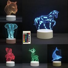 3D LED Night Lights Unicorn Horse 7 Colors Change Touch Switch Hologram Atmosphere Novelty Lamp for Home Decoration Visual Gift cute unicorn horse animal 3d led 7 colorful wood lamp as lights for kids gift