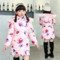 Children's clothing girls cotton-padded coat warm winter Down&Parkas cuhk baby kids thicken outerwear floral hooded jacket 3-12Y