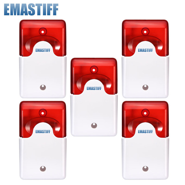 Free Shipping!5pcs/Lot 12V Mini Indoor Wired Siren with Red light Flash Sound Home Security Alarm Strobe System 110dB Hot Sale
