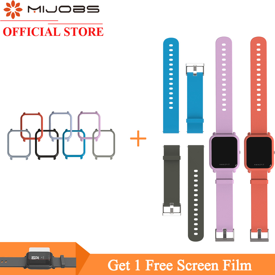 Mijobs 20mm Wrist Strap Bracelet Protective Case Cover PC Shell For Huami Xiaomi Amazfit GTS Bip BIT PACE Lite Smart Watch Band