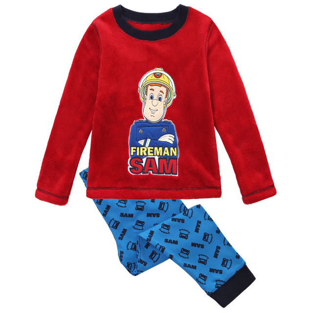 Retail new 2016 baby boys clothing sets fireman sam spring autumn fashion long T-shirt cartoon suits pajamas children kids