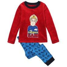 Détail nouveau 2016 bébé garçons vêtements ensembles pompier sam printemps automne fashion long T-shirt de bande dessinée costumes pyjamas enfants enfants