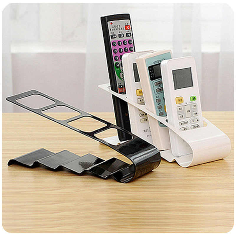 19x7.5x9cm TV/DVD/VCR Organiser 4 Frame Remote Control Storage Practical Mobile Phone Holder Stand Iron White Organizer Case