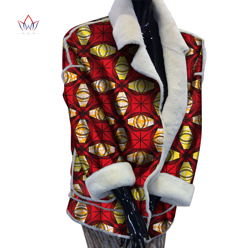 Winter Women Coat African Top Coats with Fur 2019 African Wax Print Warm Oversize Parka Jacket for Women African Clothes WY3468